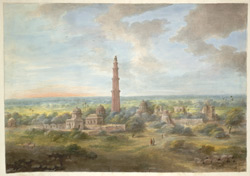 The Qutb Minar surrounded by various buildings of the complex